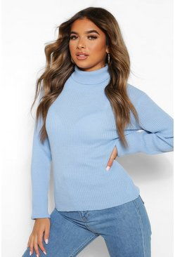 Pale blue Petite Rib Knit Roll Neck Jumper