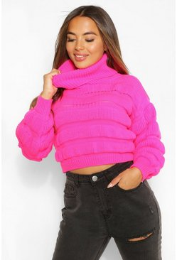 Bright pink Petite Bubble Knit Roll Neck Jumper