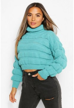 Lime green Petite Bubble Knit Roll Neck Jumper