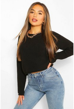 Black Petite Roll Hem Cropped Jumper