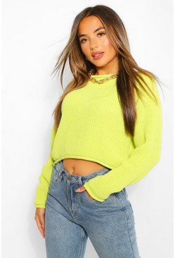 Lime green Petite Roll Hem Cropped Jumper