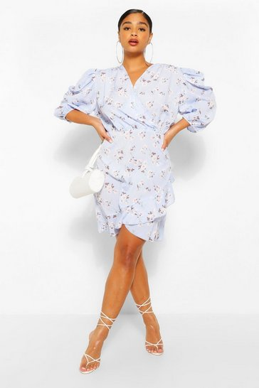Sky Plus Floral Puff Sleeve Ruffle Skater Dress