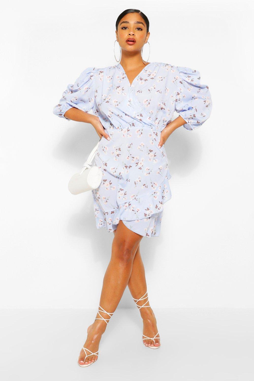 Plus Floral Puff Sleeve Ruffle Skater Dress 7