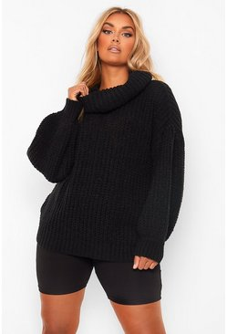 Black Plus Supersoft Oversized Cowl Neck Jumper