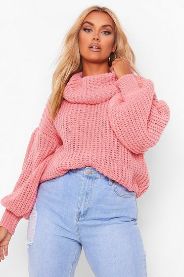 Coral pink Plus Supersoft Oversized Cowl Neck Jumper