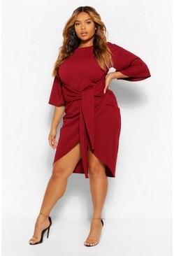 Berry red Plus Kimono Sleeve Wrap Over Midi Dress