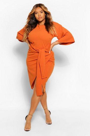 Rust orange Plus Kimono Sleeve Wrap Over Midi Dress