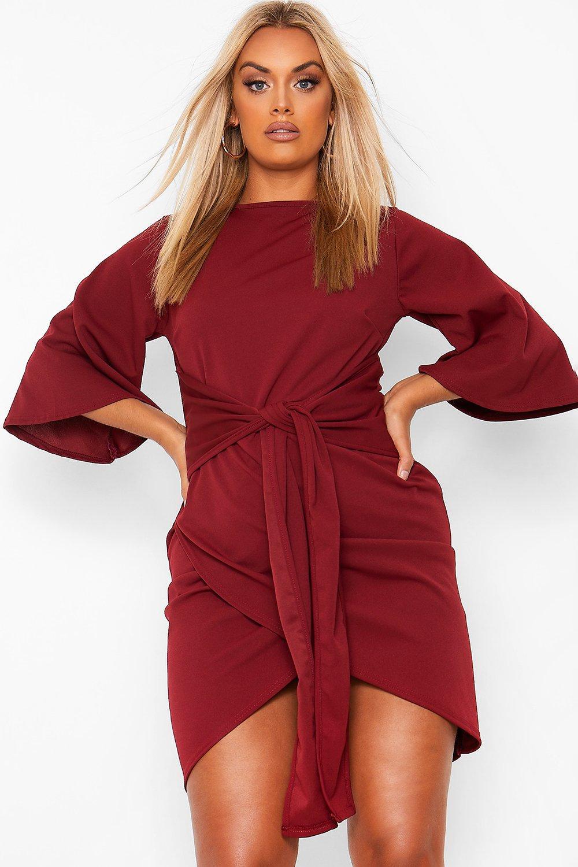 Plus Kimono Sleeve Tie Waist Wrap Dress 8