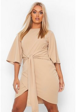 Sand beige Plus  Kimono Sleeve Tie Waist Wrap Dress