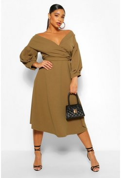 Plus – Off-Shoulder Midikleid mit Wickeldesign, Khaki khakifarben