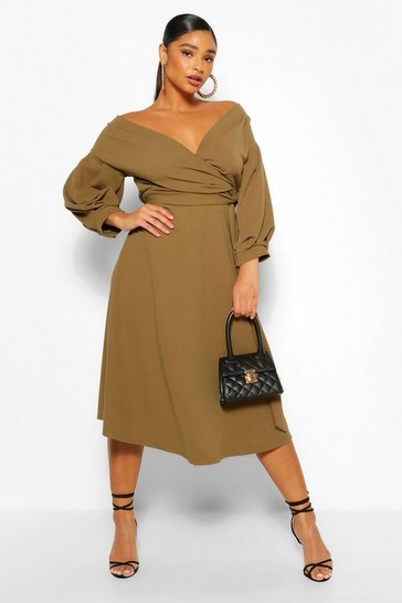 Khaki Plus Off Shoulder Wrap Midi Dress
