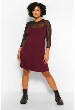 Berry red Plus Mesh 2 In 1 Cami Dress