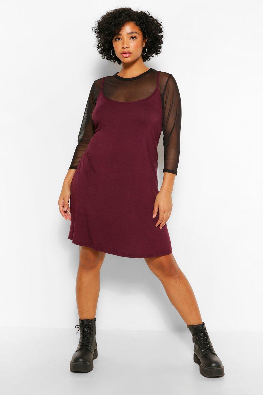 Plus Mesh 2 In 1 Cami Dress 7