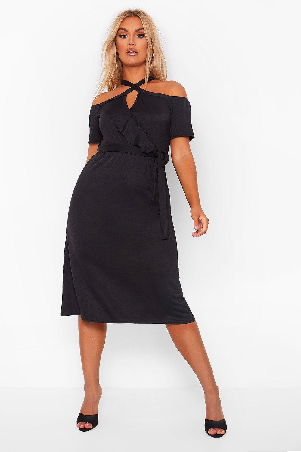 Plus Plunge Ruffle Belt Midi Dress 18