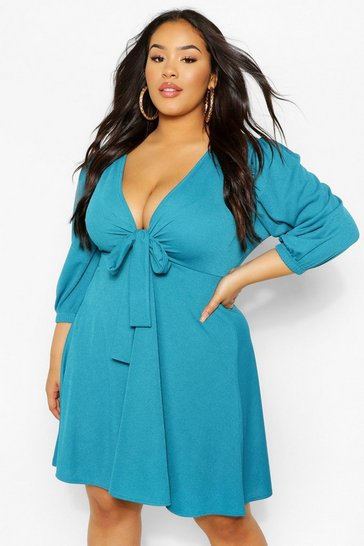 Dark blue blue Plus Knot Front Skater Dress