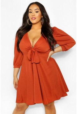 Rust orange Plus Knot Front Skater Dress