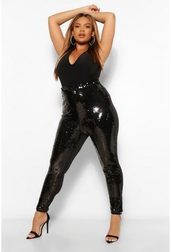 Black Plus Sequin Jersey Mix Leggings
