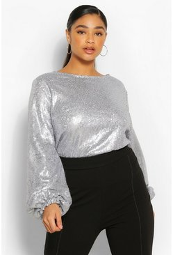 Silver Plus Sequin Crew Neck Full Sleeve Top