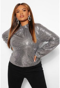 Silver Plus Sequin High Neck Top