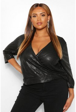 Black Plus Sequin 3/4 Sleeve Wrap Top