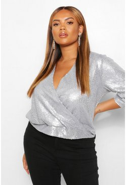 Silver Plus Sequin 3/4 Sleeve Wrap Top