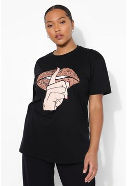 Plus Leopard Lips T-Shirt, Black schwarz