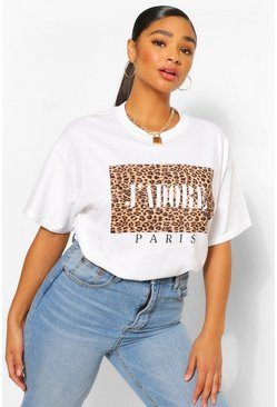 "White vit Plus - ""J'Adore"" T-shirt med slogan och leopardmönster"