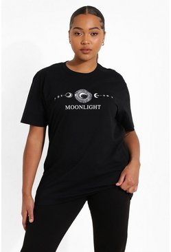 Plus Moonlight Slogan T-Shirt, Black schwarz