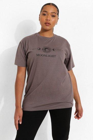 Charcoal grey Grey Plus Moonlight Slogan T-Shirt