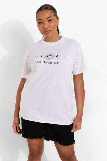 White Plus Moonlight Slogan T-Shirt