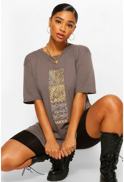 Charcoal Plus Leopard Swatch Amour Slogan T-Shirt