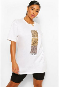 White Plus Leopard Swatch Amour Slogan T-Shirt
