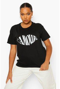 Black Plus L'Amour Lips Slogan T-Shirt