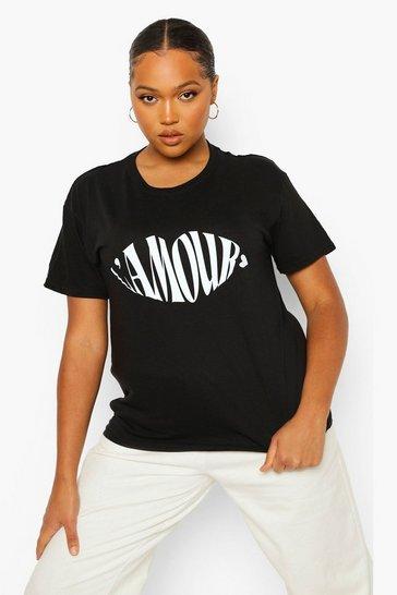 Black Plus L'Amour Lips Slogan T-Shirt