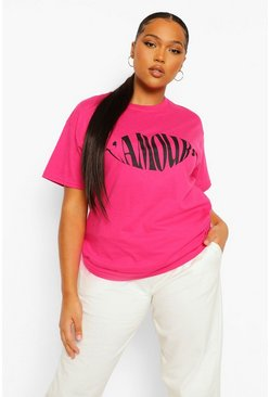 Pink Plus L'Amour Lips Slogan T-Shirt