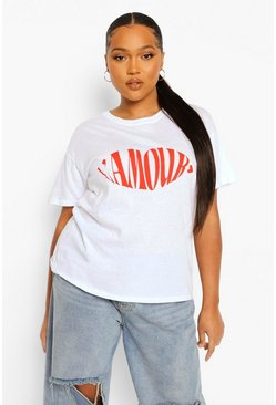 White Plus L'Amour Lips Slogan T-Shirt