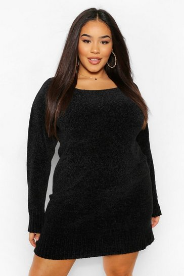 Black Plus Chenille Slash Neck Jumper Dress