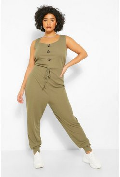 Khaki Plus Rib Button Down Jumpsuit