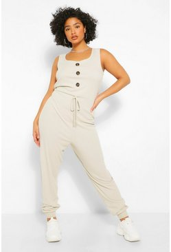 Plus Rib Button Down Jumpsuit, Stone beige