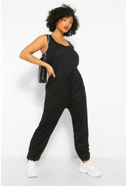 Black Plus Scoop Neck Jogger Jumpsuit