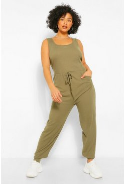 Plus Scoop Neck Jogger Jumpsuit, Khaki khakifarben