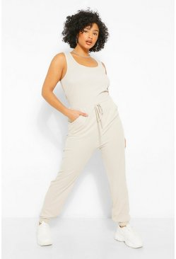 Stone beige Plus Scoop Neck Jogger Jumpsuit