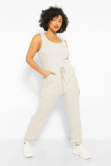 Stone beige Beige Plus Scoop Neck Jogger Jumpsuit