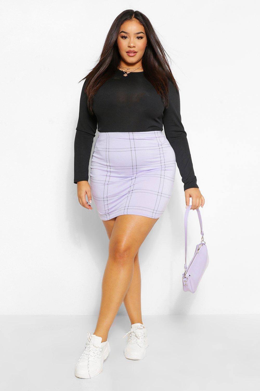 Plus Grid Check Mini Skirt 16