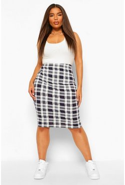 Black Plus Check Midi Skirt