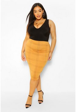 Mustard yellow Plus Grid Check Midi Skirt