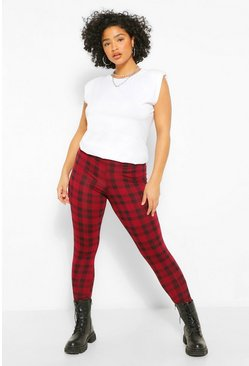 Berry red Plus Mono Check Legging