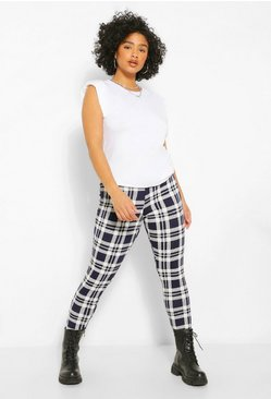 Navy Plus Mono Check Legging