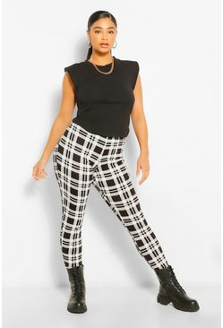 Black Plus Mono Check Legging