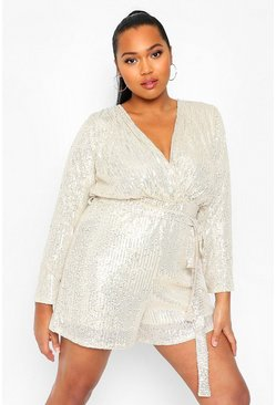 Silver Plus Sequin Wrap Tie Waist Playsuit